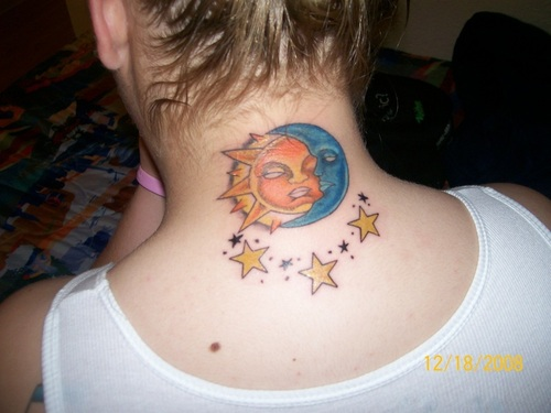 Back Neck Sun And Half Moon Tattoos With Stars