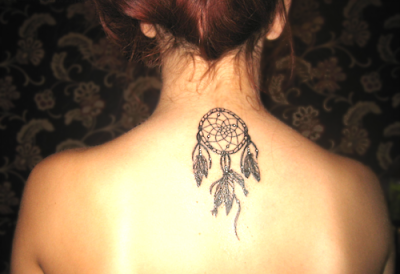Back Neck Tattoo Of A Dreamcatcher