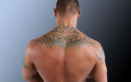 Back Neck Tribal Tattoo Style For Men