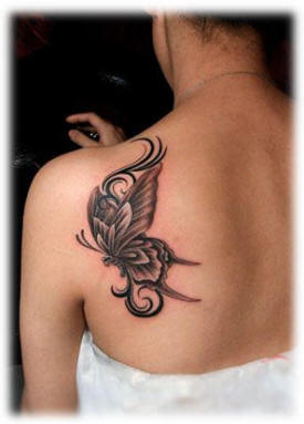 Back Shoulder Butterfly Tattoo For Girls