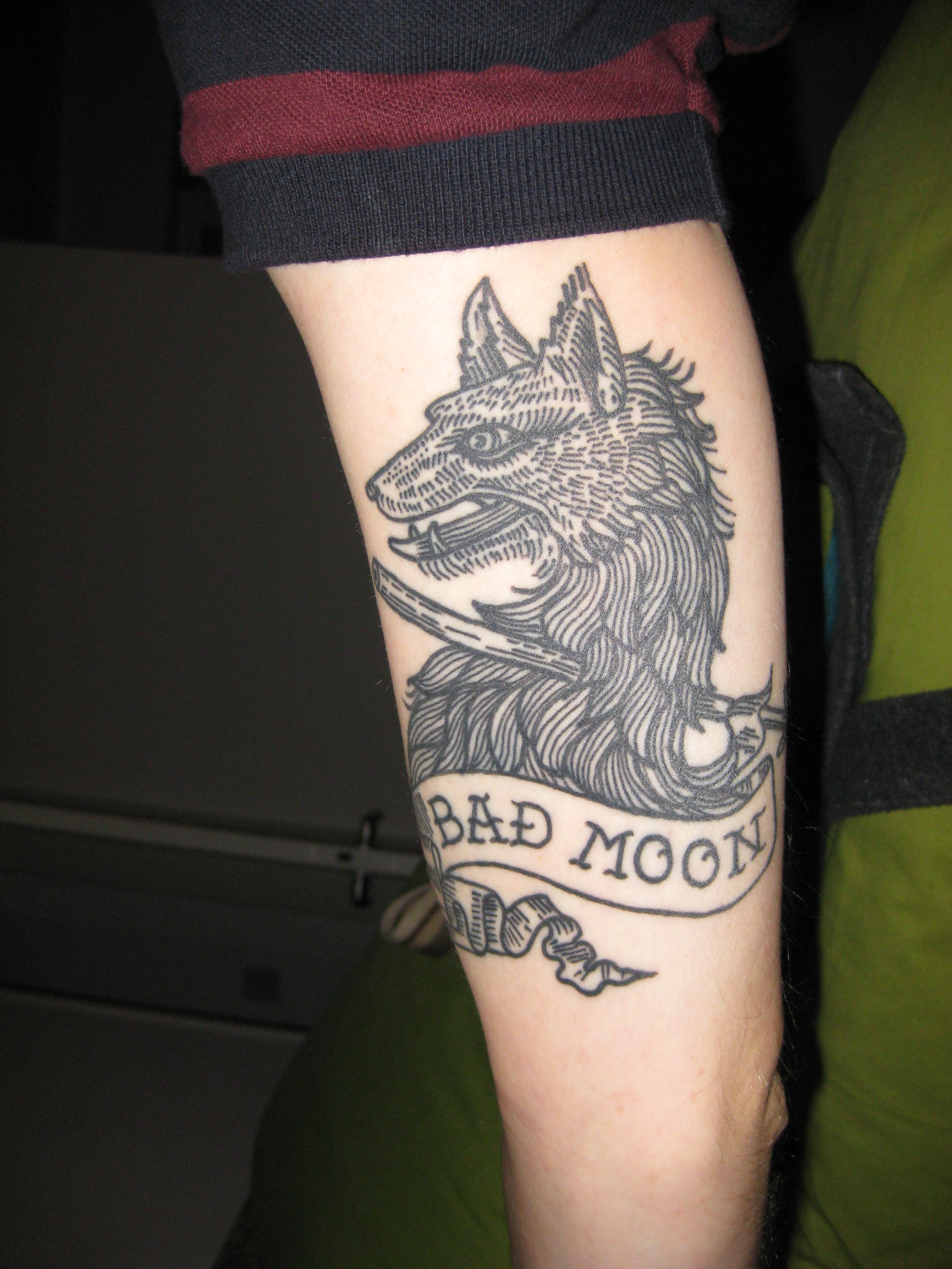 Bad Moon Wolf Tattoo On Arm