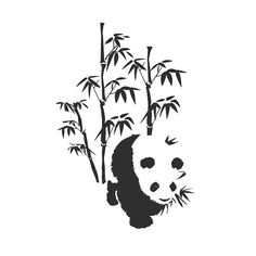 Bamboo Trees And Panda Tattoo Design