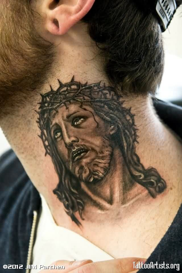 Barbed Jesus Neck Tattoo