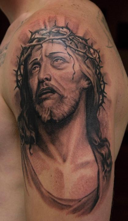Barbed Jesus Portrait Muscles Tattoo For Men