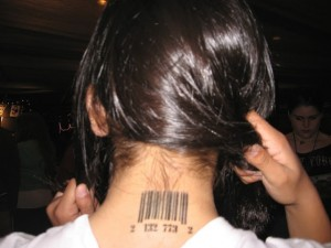 Barcode Back Neck Tattoo