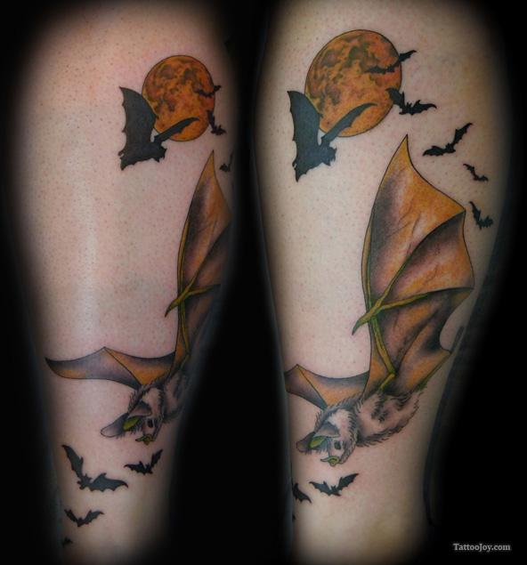 Bats And Moon Sleeve Tattoos