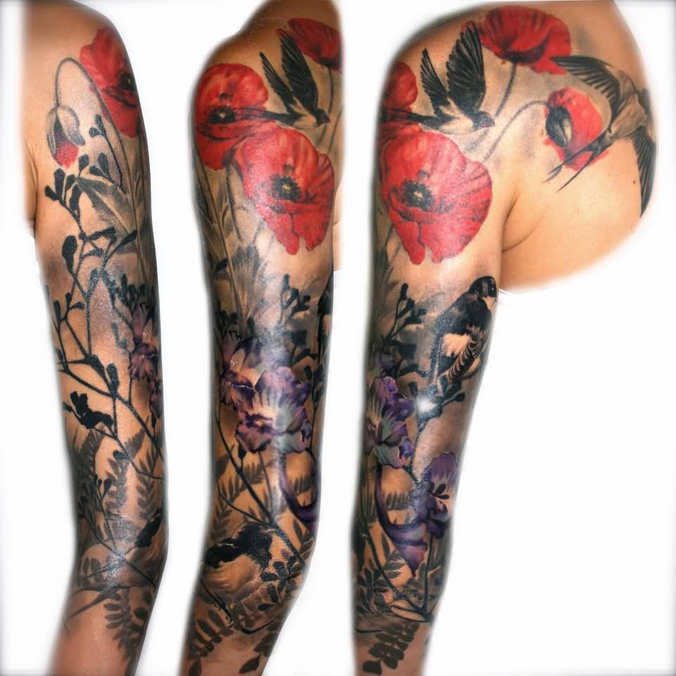 Beautiful Bird And Flowers Sleeve Tattoos