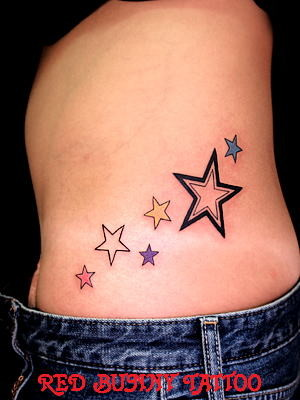Beautiful Colored Star Tattoos On Waist