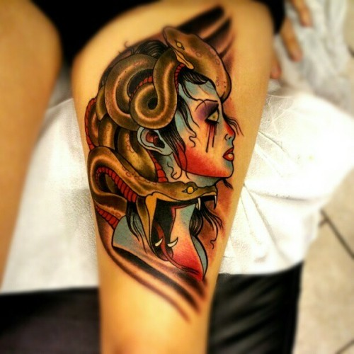 Beautiful Medusa Tattoo On Thigh For Girls