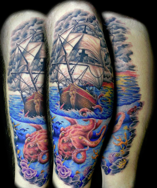 Beautiful Pirate Ship Octopus And Roses Tattoos