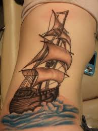 Beautiful Sailing Pirate Ship Tattoo On Rib Side