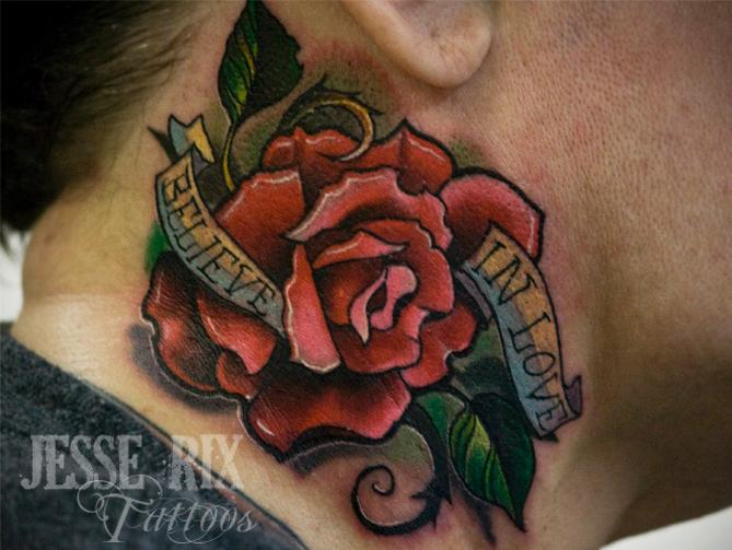 Believe In Love Rose Neck Tattoos