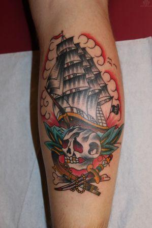 Best Colorful Pirate Ship And Skull Tattoos