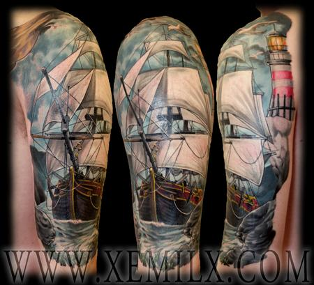 Best Sailing Ship And Lighthouse Tattoos On Half Sleeve