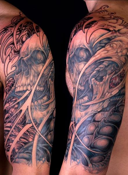 Bio Organic Skull Tattoo On Half Sleeve