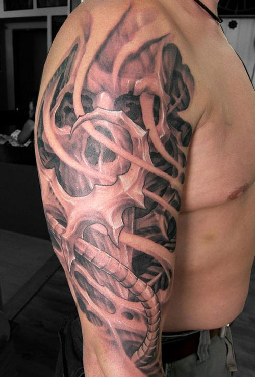 Bio Organic Skull Tattoo On Right Half Sleeve