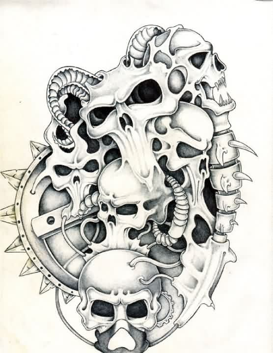 Biomech Skulls Tattoo Design