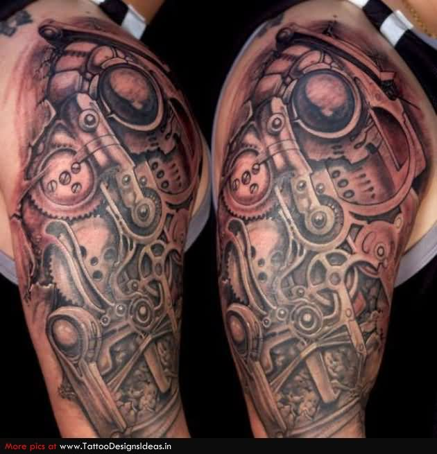 Biomechanical Gears Half Sleeve Tattoos