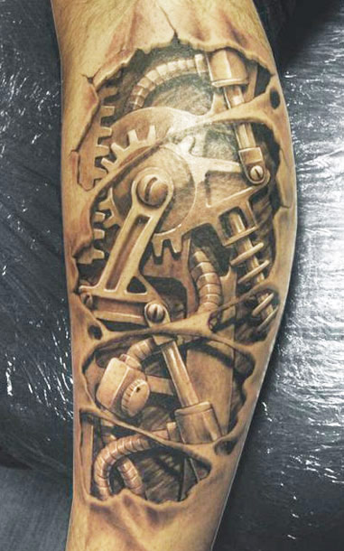 Biomechanical Gears - Torn Ripped Skin Tattoo On Leg