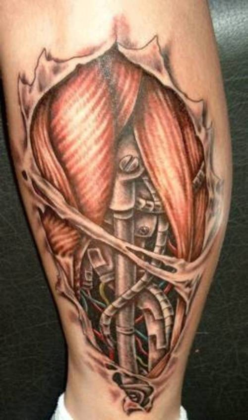 Biomechanical Muscles Ripped Skin Tattoo On Inner Leg