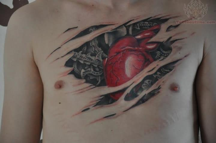 Biomechanical Red Heart Torn Rip Skin Tattoo On Chest