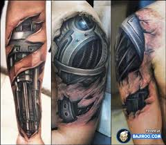 Biomechanical Ripped Skin Sleeve Tattoos