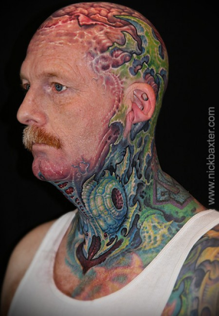 Biomechanical Tattooed Neck
