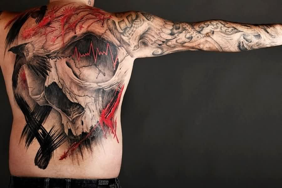 Bird And Cracked Skull Tattoo On Back