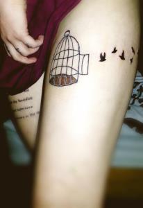 Birds Cage Thigh Tattoos