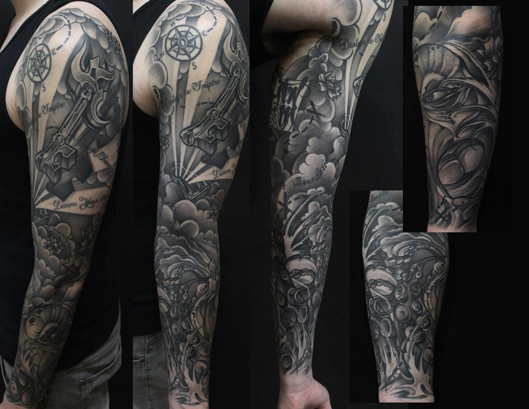 Black And Gray Octopus Treasure Map Tattoos
