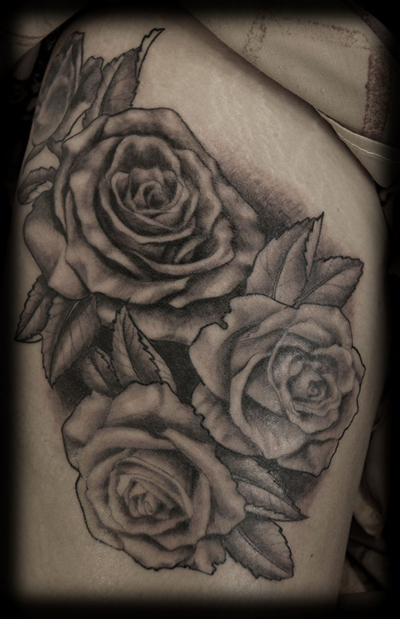 Black and Grey Roses Upper Thigh Tattoos