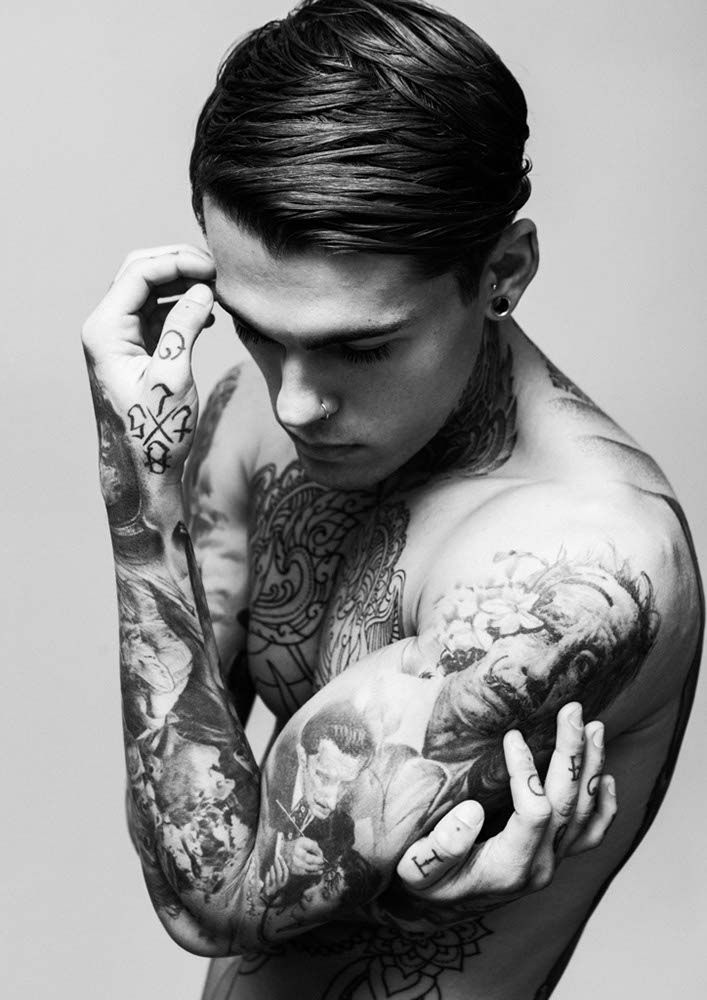 Black And White Sleeve Tattoos For Young Guys