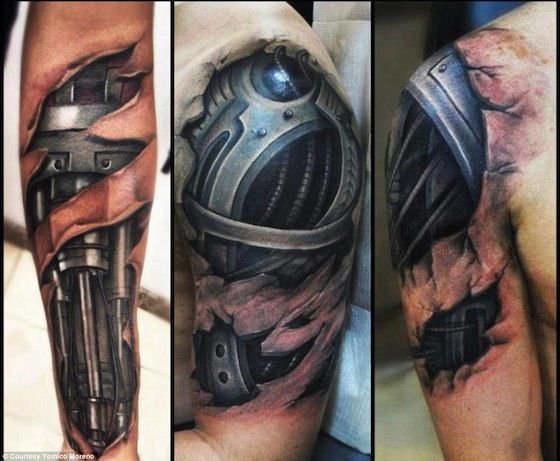 Black Biomechanical Forearm And Muscles Tattoos