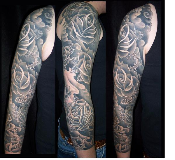 Black Clouds And Roses Sleeve Tattoos