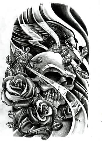 Black Crow Skull And Roses Tattoo Print