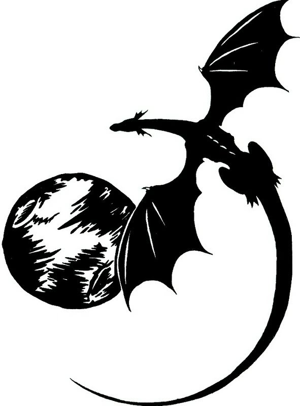 Black Dragon And The Full Moon Tattoo Designs