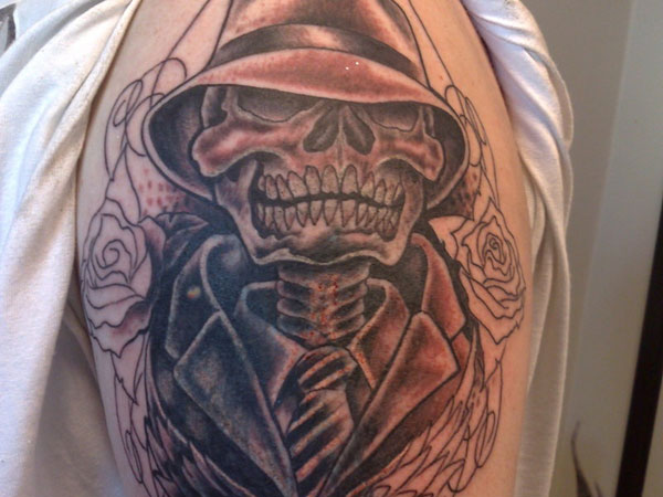 Black Gangsta Skull And Outline Roses Tattoos