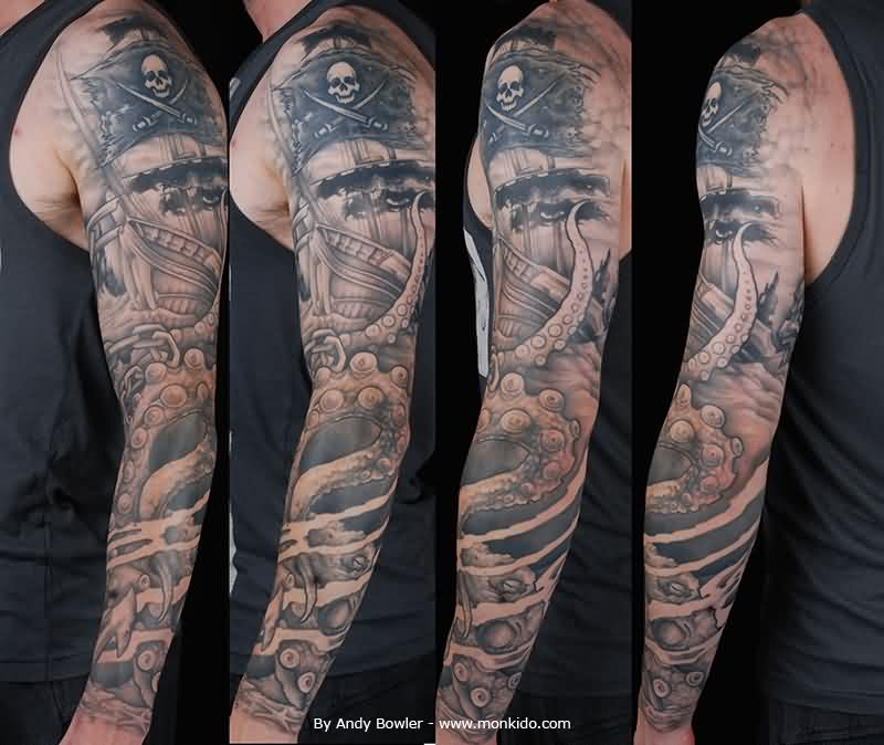 Black Grey Pirate Ship And Octopus Sleeve Tattoos
