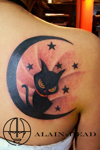 Black Ink Cat And Moon Tattoos With Stars