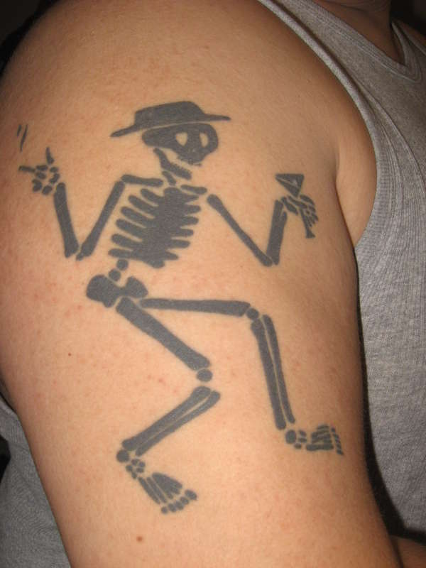 Black Ink Social Dstortion Skeleton Tattoo For Men