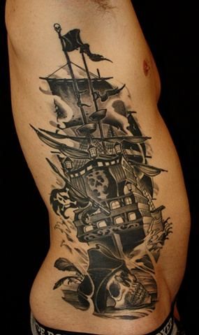 Black Ink Tall Ship And Skull Tattoos On Side