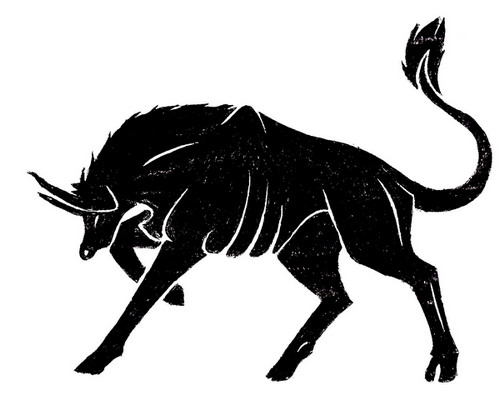 Black Ink Zodiac Taurus Bull Tattoo Design