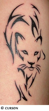 Black Outline Panther Tattoo