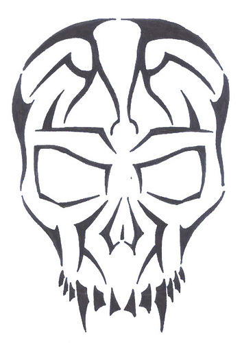 Black Outline Skull Tattoo Sample