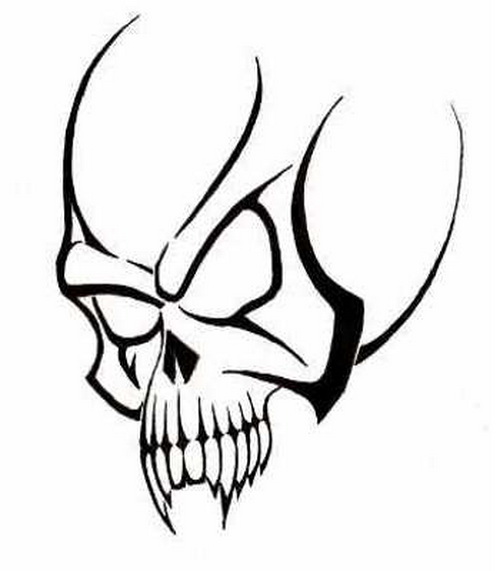 Black Outline Skull Tattoo Stencil