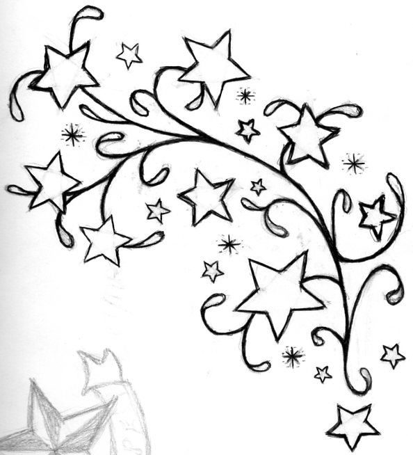 Black Outline Star Tattoo Designs