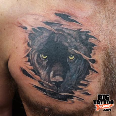Black Panther Torn Ripped Skin Tattoo On Chest