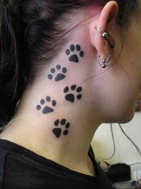 Black Paw Prints Neck Tattoos