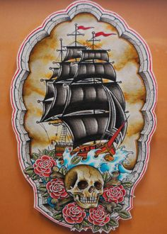 Black Ship Skull And Red Rose Tattoos Flash