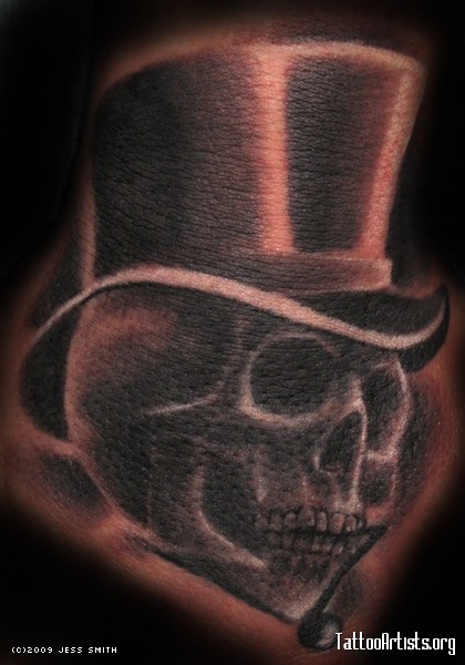 Black Skull With Hat Tattoo